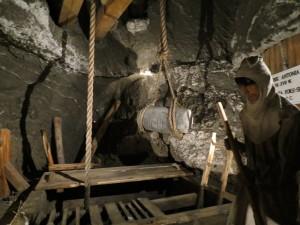 Scene of salt miners in Wieliczska
